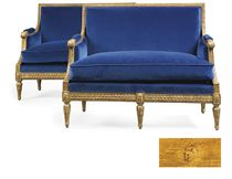 A PAIR OF LOUIS XVI GILTWOOD MARQUISES