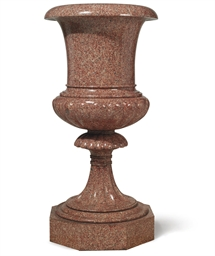 A SWEDISH PINK GRANITE VASE OF