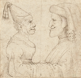 Two grotesque heads: a woman w