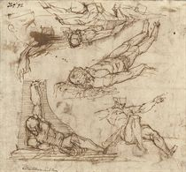 Studies of foreshortened male nudes (recto); Figures leaning on steps and a Lamentation (verso)
