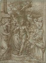 Saint John the Baptist with Saint Barbara and other saints