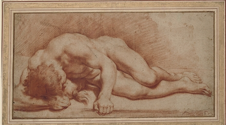 A reclining male nude, his hea