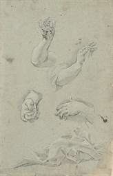 Studies of arms, hands and dra