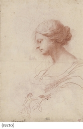 Head of a woman in profile, wi