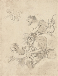 Apollo and a nymph with two ri