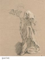 Drapery study of a woman with an outstretched arm; and Drapery study of a kneeling woman