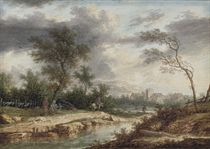 A river landscape with travellers by a campfire, a village beyond