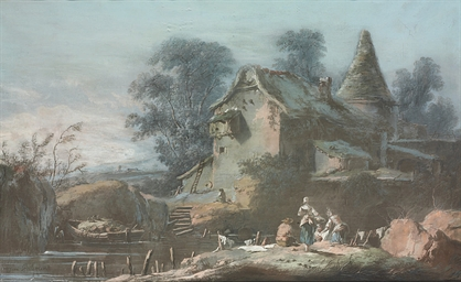 A mill beside a river, washerw