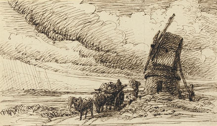 A wagon by a post mill