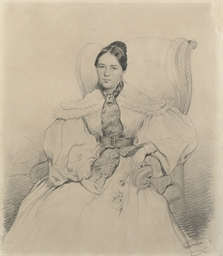 Portrait of a lady, seated in
