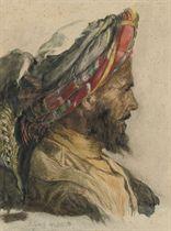 Portrait of an Arab, in profile, wearing a turban