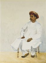 Portrait of an Indian, seated, wearing a turban