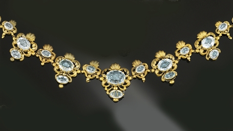 A Georgian gold and aquamarine