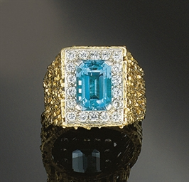 An 18ct. gold, aquamarine and