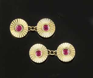 A pair of ruby set cufflinks