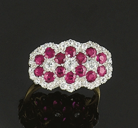 A diamond and ruby ring