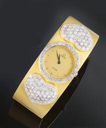 An 18ct. gold, quartz, diamond