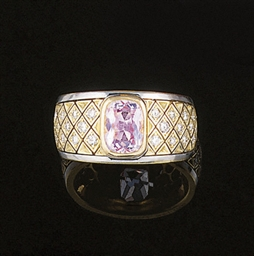A pink beryl and diamond ring,