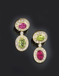 A pair of peridot, tourmaline