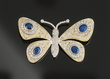 A sapphire and diamond butterf