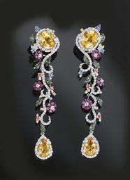 A pair of diamond and multi-ge