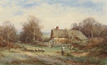 Feeding the chickens; and A Bedfordshire cottage