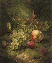 Grapes, plums and peach on a grassy bank