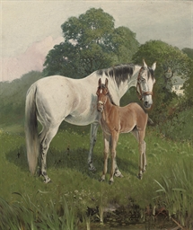 A mare and fowl in a meadow