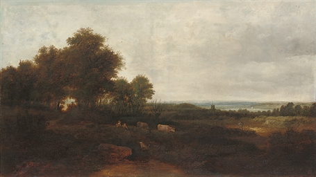 Figures and cattle in a landsc