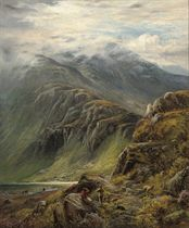 Highland scene with sheep and figures in the foreground