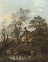 Horses watering before a thatched cottage