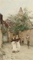 Two young women promenading in Rothenburg, Bavaria