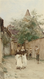Two young women promenading in