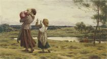 A mother with her children by a river