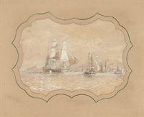 H.M.S. Rattlesnake off an archipelago (illustrated); and H.M.S. Rattlesnake at anchor off an island