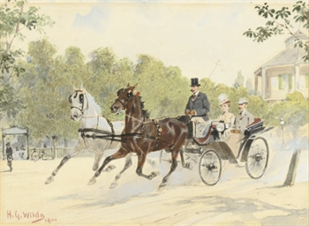 A carriage driving through the