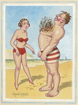 'This is the place to grow hair on your chest' (illustrated); 'I'm quite respectable but full of fun'; and 'I'm having a glorious time'