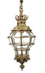 A FRENCH GILT BRASS HALL LANTE