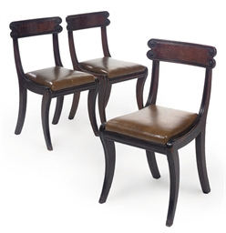 A SET OF THREE REGENCY MAHOGAN