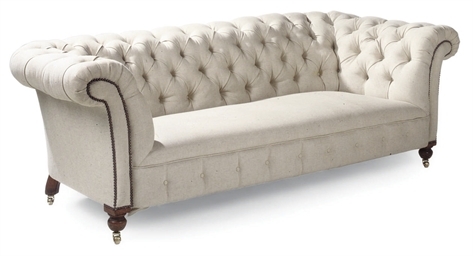 AN OAK CHESTERFIELD SOFA