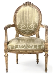 A FRENCH GILT-WOOD FAUTEUIL