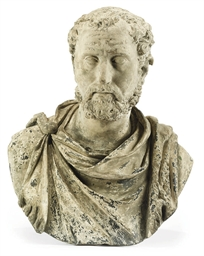 A STONEWARE BUST OF AN EMPEROR