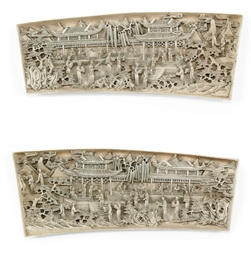 A PAIR OF CHINESE IVORY PLAQUE