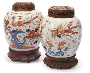 TWO CHINESE IMARI JARS WITH WO