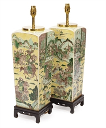 A PAIR OF CHINESE LAMPED YELLO
