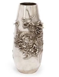A JAPANESE SILVER VASE, SEALED