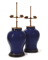 A PAIR OF CHINESE BLUE GLAZED