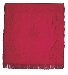 A BURGUNDY RED COVERLET