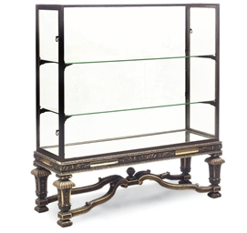 A GILTWOOD AND BRASS DISPLAY C