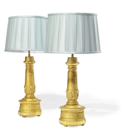 A PAIR OF FRENCH GILT WOOD LAM